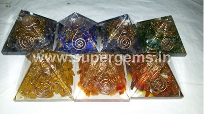Picture of 7 chakra 50 mm orgone pyramid set