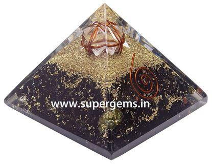 Picture of black tourmaline 3 inch merkaba star pyramid