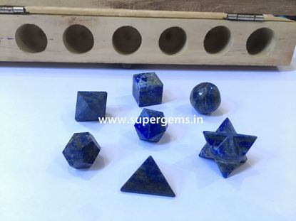 Picture of 7 piece lapis lazuli geomatry set