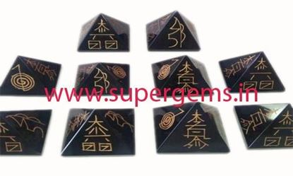 Picture of black agate reikiusai pyramid