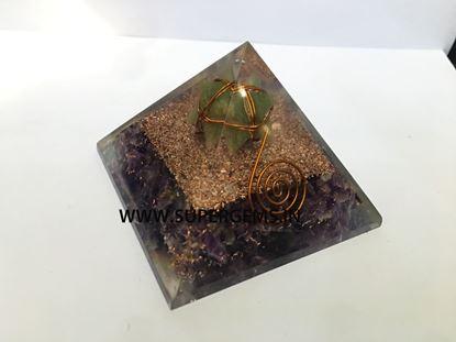 Picture of amethyst green aventurine merkaba point orgone pyramid