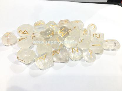 Picture of clear quartz rune set