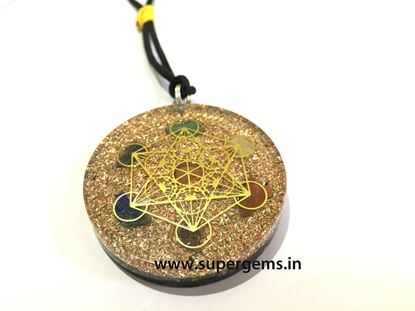 Picture of orgonite copper chakra metatron pendnat